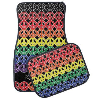 Peace Sign Multi Color Rainbow with Text Car Mat
