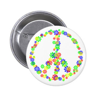 Peace Sign of Flowers 2 Inch Round Button