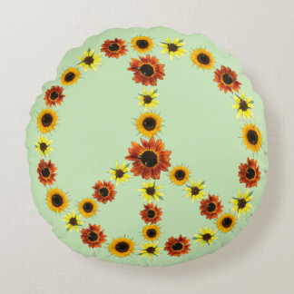 Peace Sign of Sunflowers, Pale Green Round Pillows