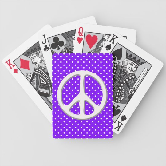 Peace Sign Party in Purple Bicycle Playing Cards