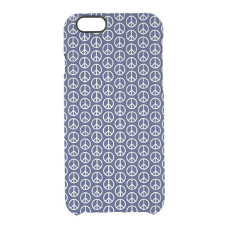 Peace Sign Pattern on Midnight Blue Clear iPhone 6/6S Case