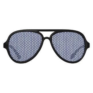 Peace Sign Pattern on Midnight Blue Party Sunglasses