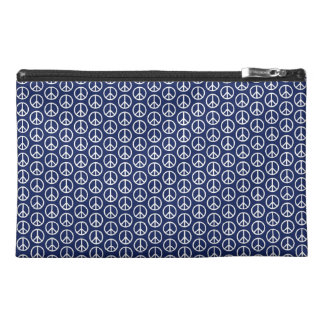 Peace Sign Pattern on Midnight Blue Travel Accessory Bag