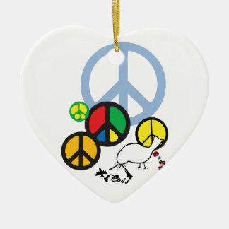 peace sign pendant ceramic ornament