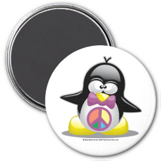 Peace Sign Penguin 3 Inch Round Magnet