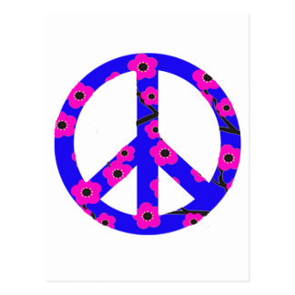 Peace Sign Pink Cherry Blossom Post Card