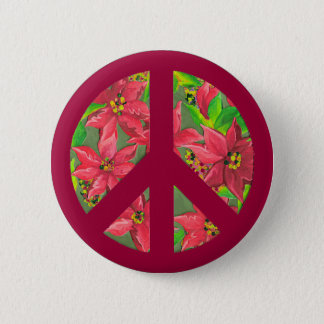 Peace sign poinsettia Christmas pin