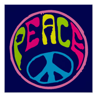 Peace Sign Psychedelic Hippie Style Perfect Poster