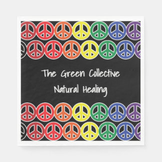Peace Sign Rainbow Color Business Promo Text Disposable Napkin