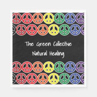 Peace Sign Rainbow Color Business Promo Text Napkin