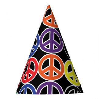 Peace Sign Rainbow Color Jumble Party Hat