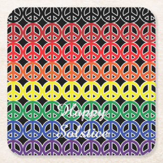 Peace Sign Rainbow Color with Event Square Paper Coaster