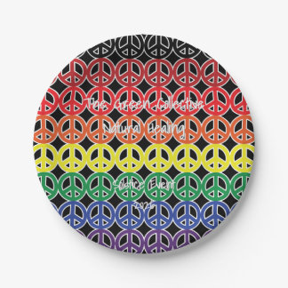 Peace Sign Rainbow Color with Event Text 7 Inch Paper Plate