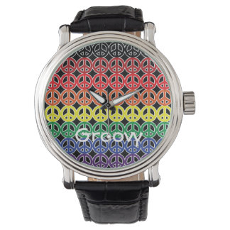 Peace Sign Rainbow Color with Name on Black Watch