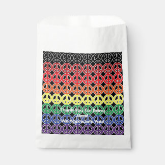 Peace Sign Rainbow Color with Promo Text Favour Bag