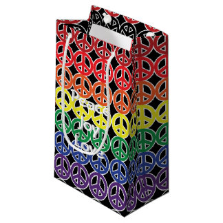 Peace Sign Rainbow Color with Text Small Gift Bag