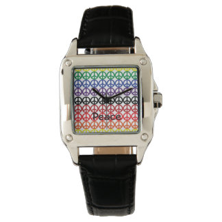 Peace Sign Rainbow Colors with Name Wrist Watch