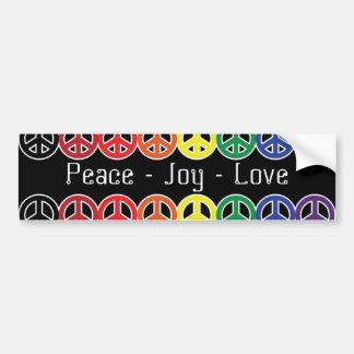 Peace Sign Rainbow on Black Peace Joy Love Bumper Sticker