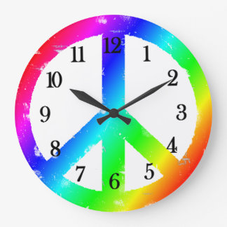 Peace Sign Rainbow Peace Clock