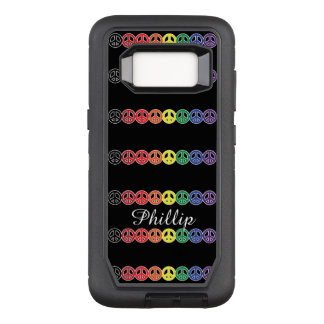 Peace Sign Rainbow with Name on Black OtterBox Defender Samsung Galaxy S8 Case