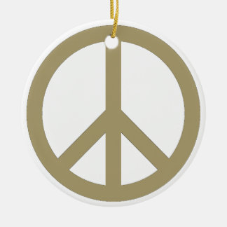 Peace Sign Round Ceramic Ornament