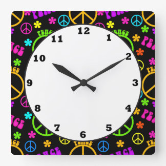 peace sign seventies pattern wall clock