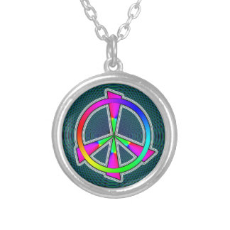 peace sign silver plated necklace