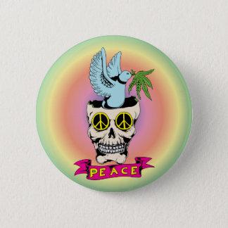 Peace Sign Skull / Dove ~ 60s Hippie Love 2 Inch Round Button