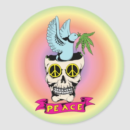 Peace Sign Skull / Dove ~ 60s Hippie Love Round Sticker