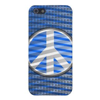 Peace Sign Stripe Blue iPhone 4 Case