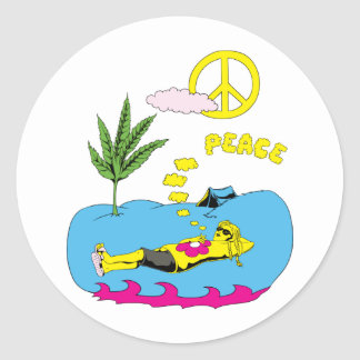 Peace Sign Symbol ~ 60s Hippie Girl Stickers