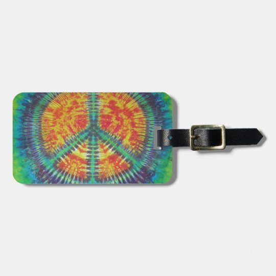 Peace Sign Tie Dye PhatDyes Luggage Tag