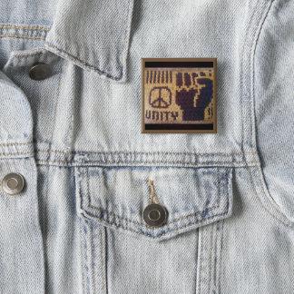 Peace Sign Unity Fist Crochet Print Badge Square 2 Inch Square Button
