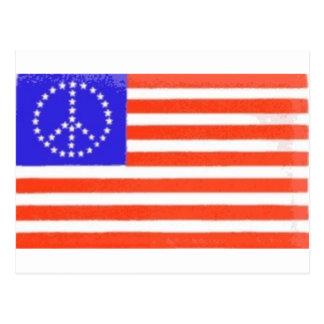 PEACE SIGN US FLAG POSTCARD