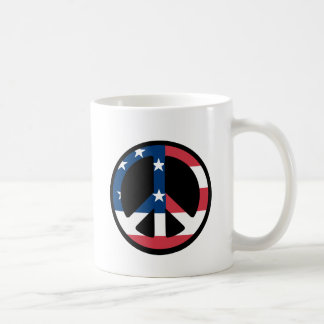 PEACE SIGN USA FLAG COFFEE MUG