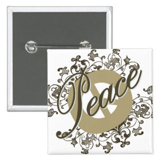 Peace Sign Vintage Brown 2 Inch Square Button