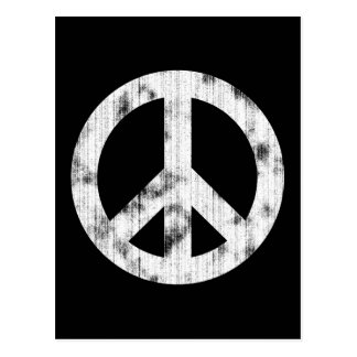 Peace Sign White Distressed Postcard