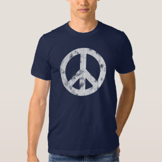 Peace Sign White Distressed T Shirt
