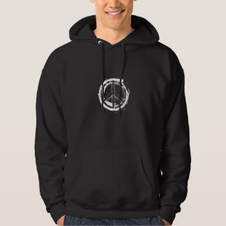 Peace Sign White on Black Hoodie