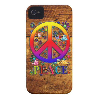 Peace Sign with Birds & Flowers Wood Backgroud iPhone 4 Case-Mate Case