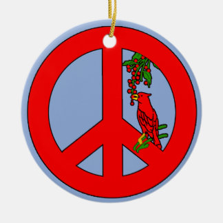 Peace Sign with Cardinal Holiday Ornament