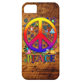 Peace Sign with Flowers & Birds Faux Wood Backgrou iPhone 5 Case