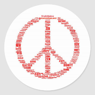 Peace sign with messages classic round sticker