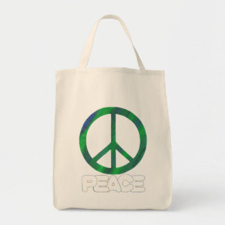 Peace Sign with Outline Text, Tote Bags