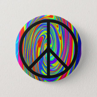 Peace Sign With Trippy Tye Dye 2 Inch Round Button