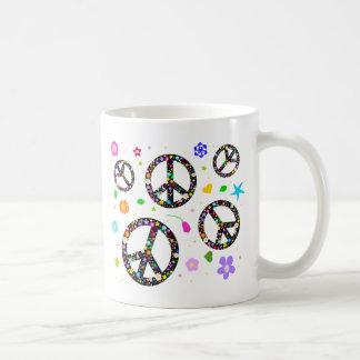 Peace Signs & Flowers Basic White Mug