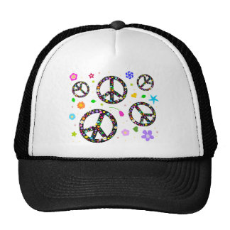 Peace Signs & Flowers Mesh Hats
