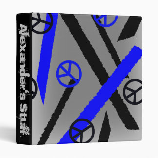 Peace Signs Grunge Gray Black and Blue 3 Ring Binders