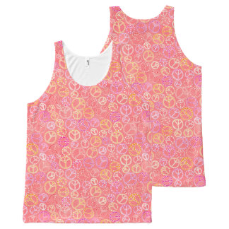 Peace Signs Pattern on Pink All-Over-Print Tank Top