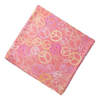 Peace Signs Pattern on Pink Bandana